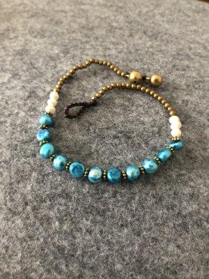 Fußkette türkise und weiße Perlen
