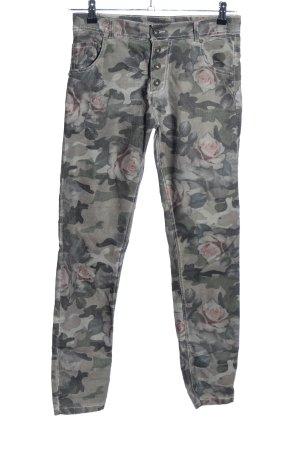 Five-Pocket Trousers flower pattern casual look