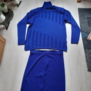 Futura Moda Vestido de lana azul acero