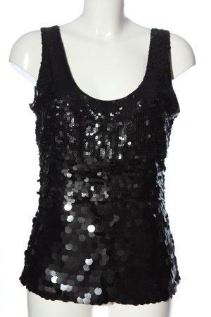 Futura Moda Camisole schwarz Glitzer-Optik