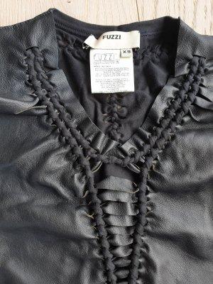 Fuzzi Blouse en cuir noir