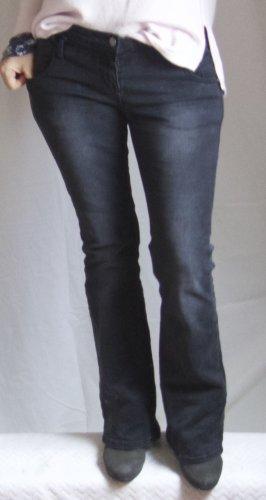Vaquero de corte bota gris oscuro-negro Algodón