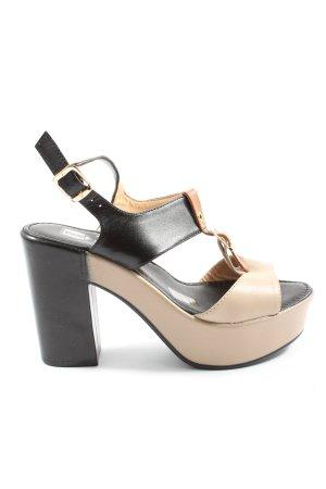 G.K.M. Platform High-Heeled Sandal black-cream casual look
