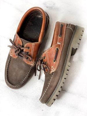 G.K.M. Zapatos de marinero marrón-coñac Cuero