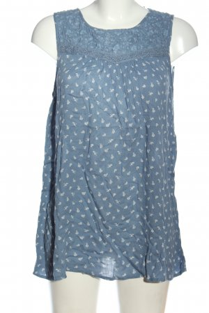 G!na ärmellose Bluse blau-weiß Allover-Druck Casual-Look