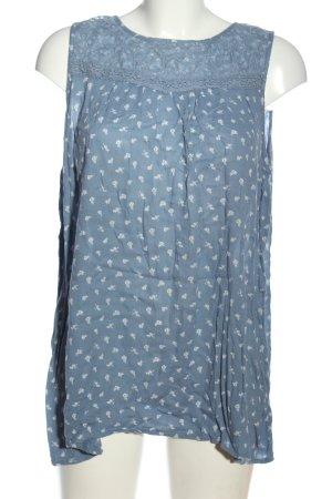 G!na ärmellose Bluse blau-weiß abstraktes Muster Casual-Look