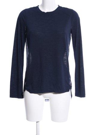 G!na Langarm-Bluse blau-pink abstraktes Muster Casual-Look