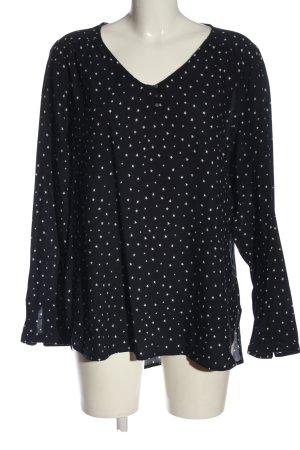 G!na Langarm-Bluse schwarz-weiß Allover-Druck Casual-Look