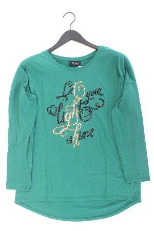 G!na Longsleeve-Shirt Größe L Langarm mit Pailletten grün aus Baumwolle