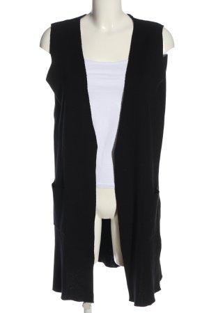 G!na Gilet long tricoté noir style décontracté