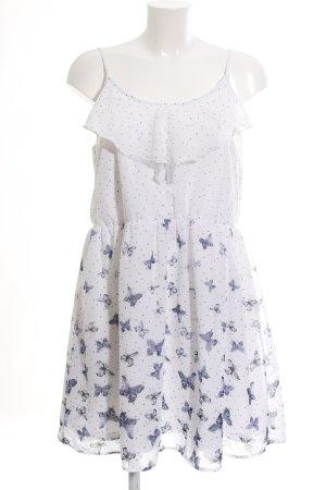G!na Minikleid weiß-blau Animalmuster Casual-Look
