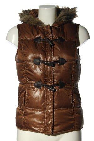 G!na Pikowana kamizelka brązowy Pikowany wzór W stylu casual