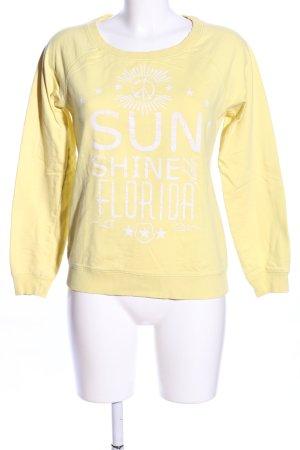 G!na Sweatshirt blassgelb-weiß Schriftzug gedruckt Casual-Look