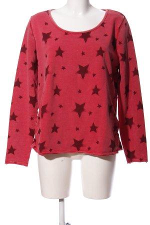 G!na Sweatshirt rot-braun Allover-Druck Casual-Look