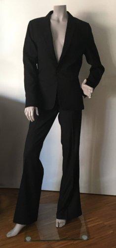 G-Star Anzug schwarz Streifenstruktur Hose mit Schlag + Galonstreifen Gr. M / 30 32 WIE NEU
