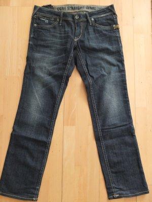 G-Star Core 3301Straight Jeans Used-Blau mit gelben Nähten Neu Innenlänge 79 cm