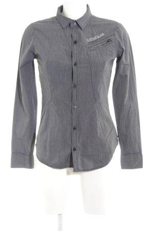 G-Star Hemd-Bluse schwarz-weiß Streifenmuster Casual-Look