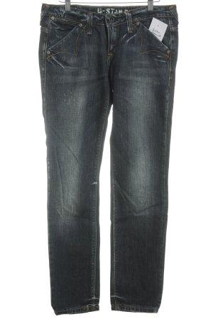 G-Star pantalón de cintura baja azul oscuro-blanco Algodón