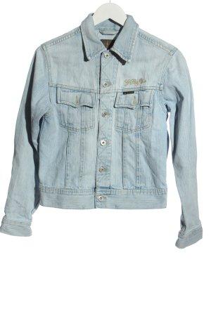 G-Star Jeansjacke blau Schriftzug gedruckt Casual-Look