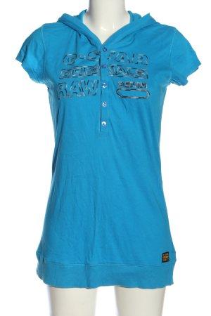G-Star Kapuzenshirt blau Schriftzug gedruckt Casual-Look