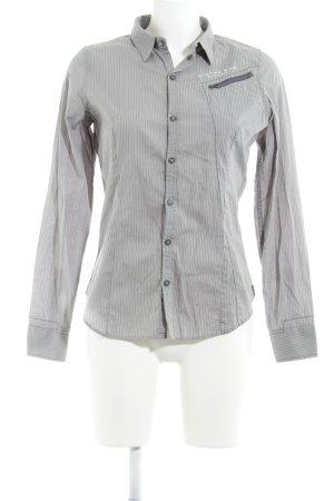 G-Star Raw Hemd-Bluse grau-weiß Streifenmuster sportlicher Stil