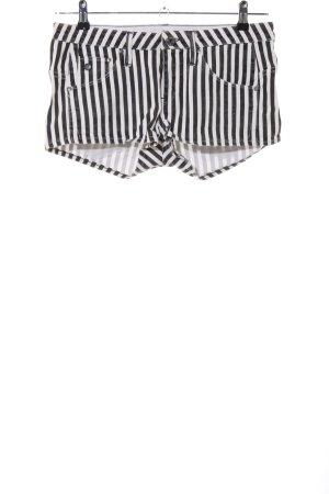 G-Star Raw Hot Pants weiß-schwarz Streifenmuster Casual-Look