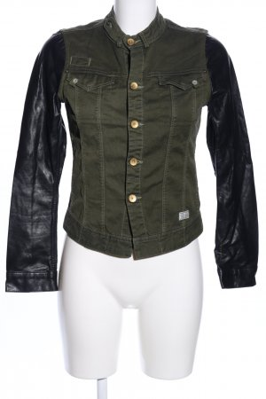 G-Star Raw Jeansjacke khaki-schwarz Glanz-Optik