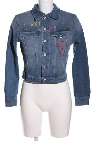 G-Star Raw Jeansjacke blau Schriftzug gedruckt Casual-Look