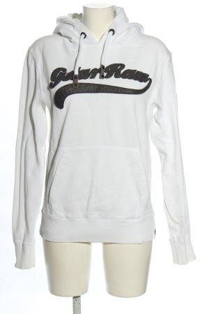 G-Star Raw Kapuzensweatshirt weiß-schwarz Schriftzug gestickt sportlicher Stil