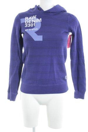 G-Star Raw Kapuzensweatshirt dunkelviolett-schwarz Schriftzug gedruckt