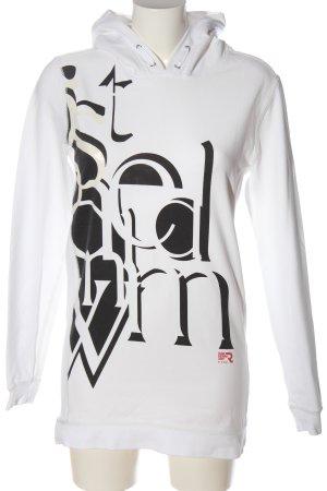 G-Star Raw Kapuzensweatshirt weiß-schwarz Schriftzug gedruckt Casual-Look