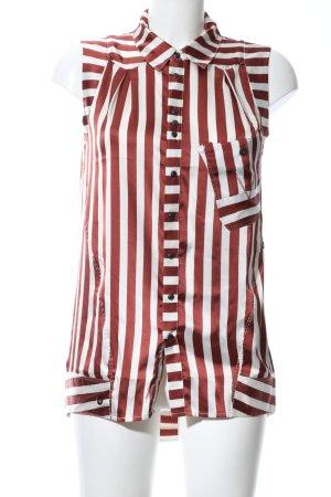 G-Star Raw Kurzarm-Bluse weiß-rot Streifenmuster Casual-Look
