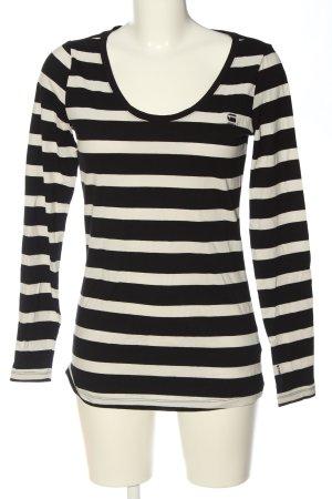 G-Star Raw Langarm-Bluse weiß-schwarz Streifenmuster Casual-Look