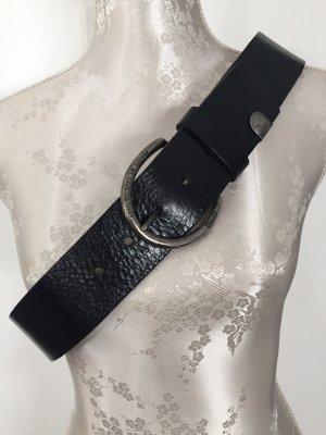 G-Star Raw Cinturón de cuero negro-color plata