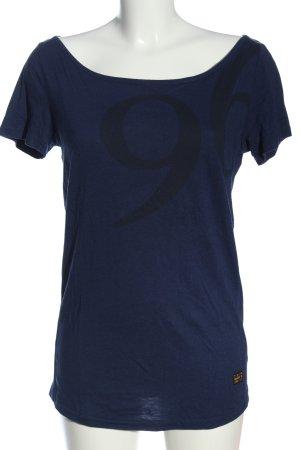 G-Star Raw Longshirt blau Schriftzug gedruckt Casual-Look