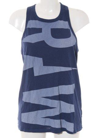 G-Star Raw Longtop dunkelblau-himmelblau Schriftzug gedruckt sportlicher Stil