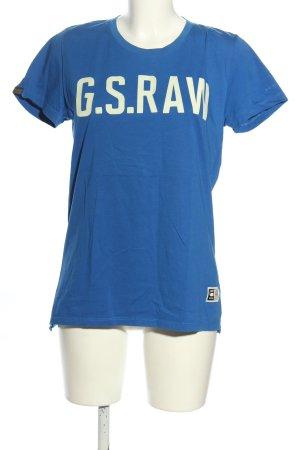 G-Star Raw Print-Shirt blau-weiß Schriftzug gedruckt Casual-Look