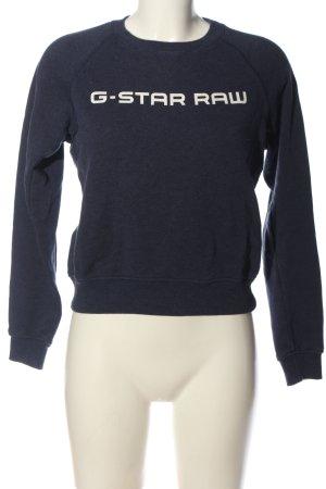 G-Star Raw Rundhalspullover blau-weiß Schriftzug gedruckt Casual-Look