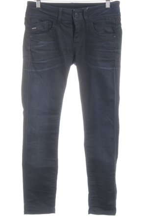 G-Star Raw Skinny Jeans dunkelblau Logo-Applikation aus Leder