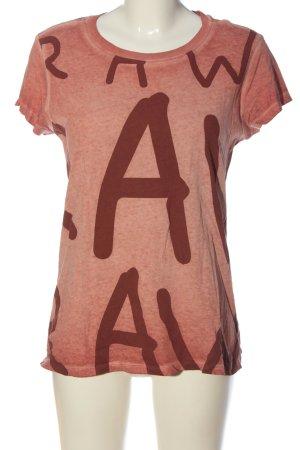 G-Star Raw T-Shirt pink-rot Motivdruck Casual-Look