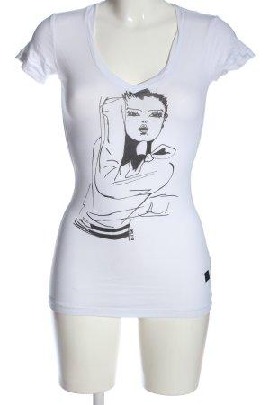 G-Star Raw T-Shirt weiß-schwarz Motivdruck Casual-Look