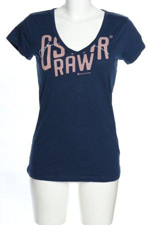G-Star Raw T-Shirt blau-pink Schriftzug gedruckt Casual-Look