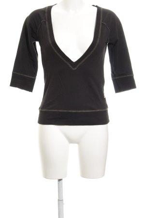 G-Star Raw V-Ausschnitt-Pullover schwarz Schriftzug gedruckt Casual-Look