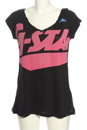 G-Star Raw V-Ausschnitt-Shirt schwarz-pink Schriftzug gedruckt Casual-Look