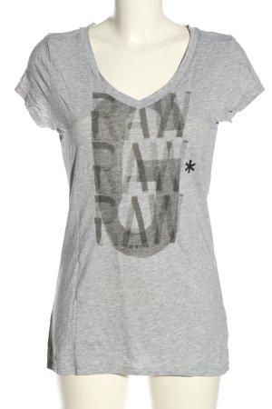 G-Star Raw V-Ausschnitt-Shirt hellgrau-schwarz meliert Casual-Look