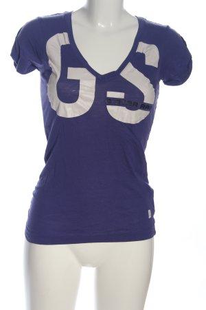 G-Star Raw V-Ausschnitt-Shirt blau-weiß Schriftzug gedruckt Casual-Look