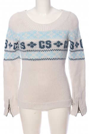 G-Star Raw Cable Sweater natural white-blue themed print casual look