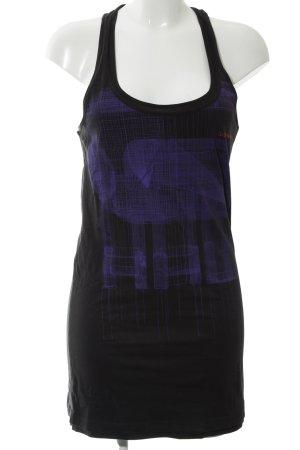 G-Star Shirtkleid schwarz-lila grafisches Muster Casual-Look