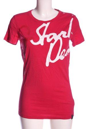 G-Star T-Shirt pink-weiß Schriftzug gedruckt Casual-Look
