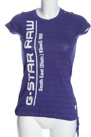 G-Star T-Shirt blau Schriftzug gedruckt Casual-Look